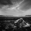 Icelandic landscape in black and white