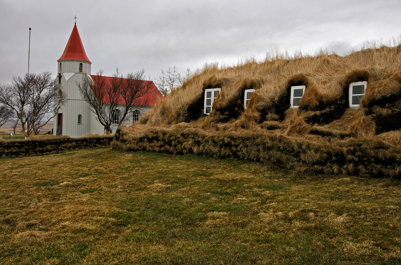 Glaumbaer Church and turf houses.