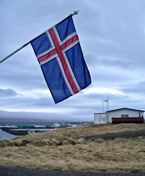 Iceland flag near the wool factory.