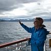 Bev waving farewell to beautiful Norway