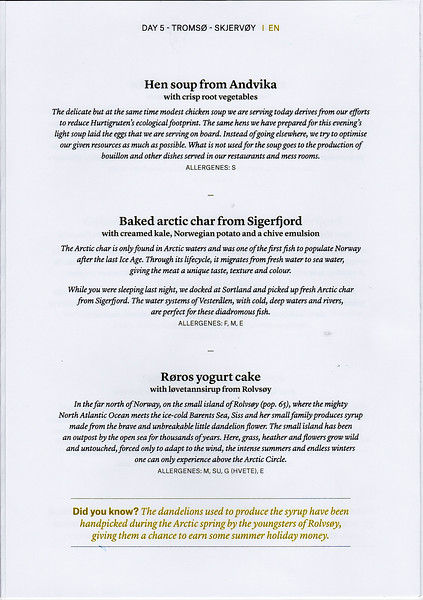 Copy of dinner menu for Day 5 of our voyage