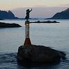 Fiskarkona (The Fisherman's Wife) statue in Svolvær harbor