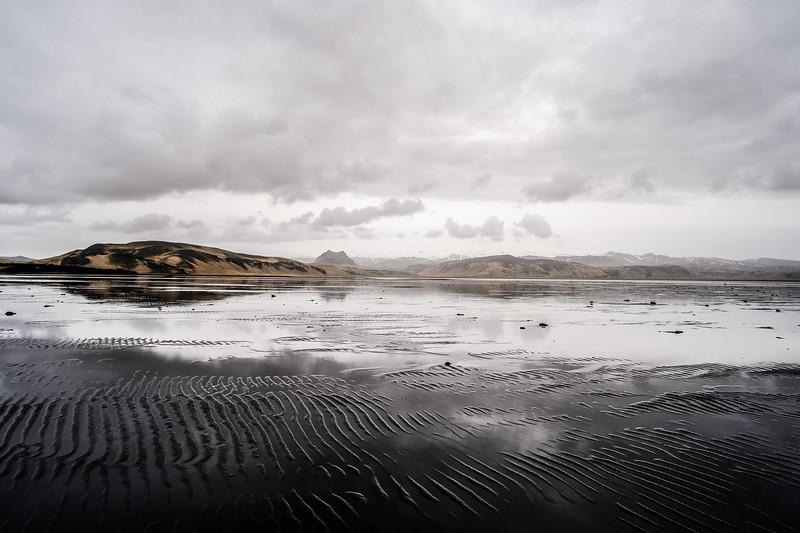 Flooded flats near Reynis, Iceland.
