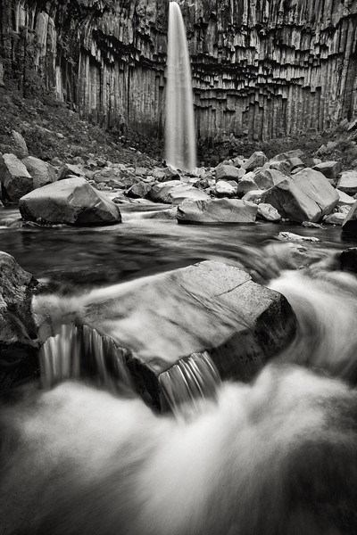 Svartifoss Waterfalls - Black & White