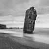 Sea Stack, Southern Iceland Coast - Black & white