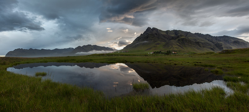 Southern Iceland Mountain Reflection Pano