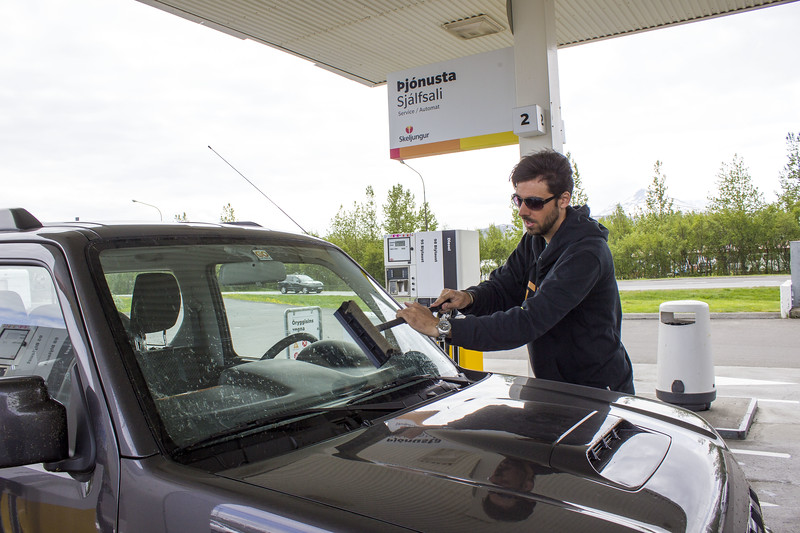 Getting gas in Iceland at a gas station