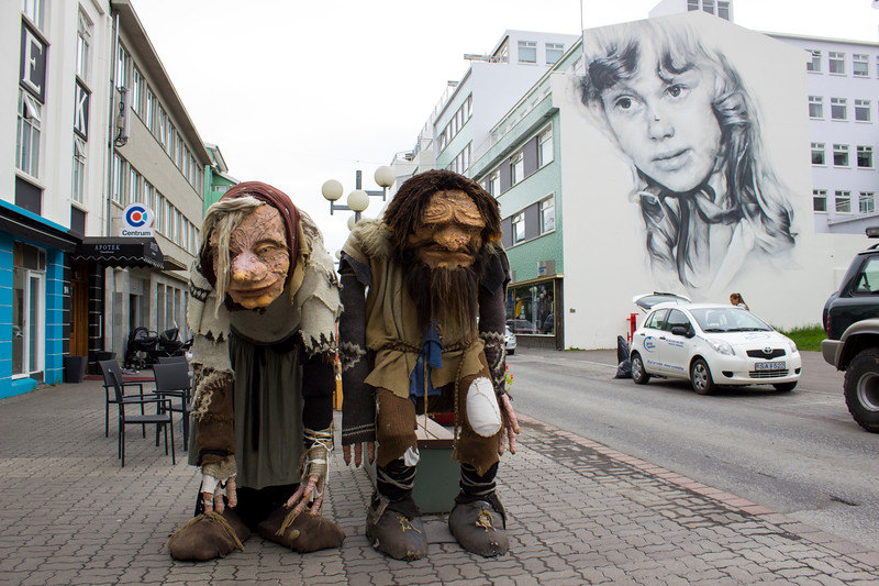 Troll statues in Akureyri and street art