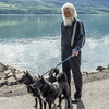 Man walking his dogs in Akureyri