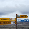 Intersection with the road to Landmannalaugar, Hekla in the background (before reaching this point we only passed one car)