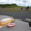 Enjoying our favourite lunch, fresh bread and Icelandic cheese, outside Árnes