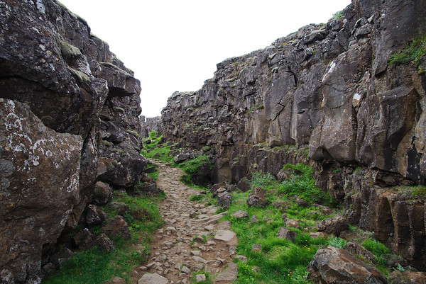 Almannagjá, the rift that cuts across the national park which is situated on the tectonic plate boundary between the North American and Eurasian land masses