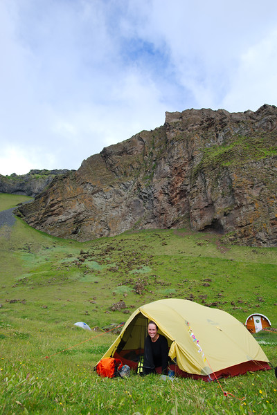 Our campsite at Herjólfsdalur, in the crater of an extinct volcano. Our favourite campground in Iceland!