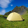 Camping in the extinct volcano at Herjólfsdalur, our favourite campsite in Iceland!