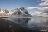 Stokksnes black sand beach and Vestrahorn mountain, Iceland