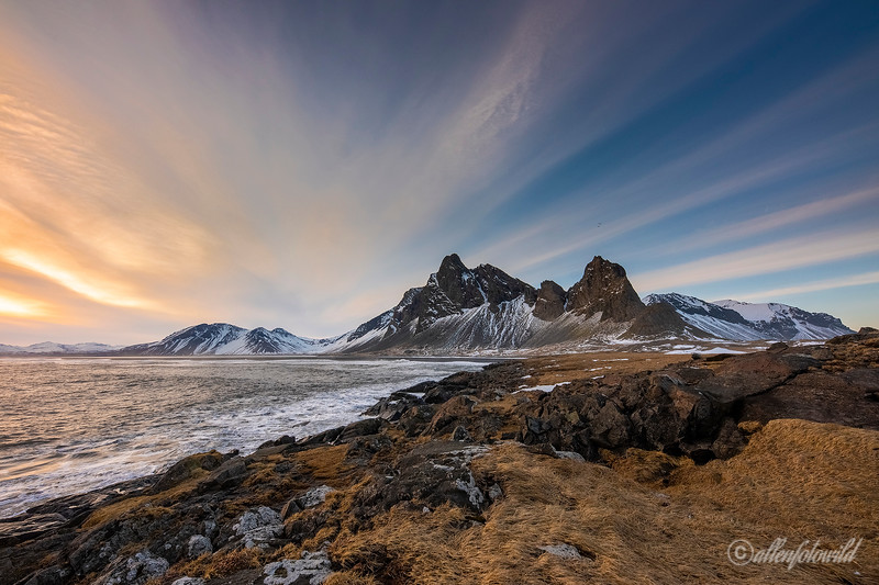 Eystrahorn and Hvlanes Nature Reserve near sunset, East Fjords, Iceland