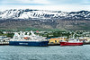 The port of Akureyri with cruise ships on the Eyjafjörður fjord in northern Iceland, Europe.