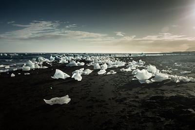 Ice on the ocean beach.