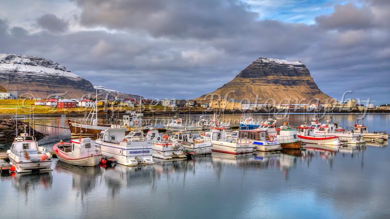 Boats in the marina at Grundarfjordur, Iceland.