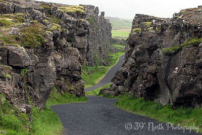 This is Almannagjá (Everyman's Chasm), one of many rifts in Iceland between the North American and Eurasian tectonic plates.