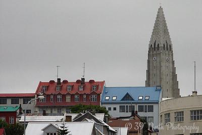 Space Shuttle Hallgrímskirkja looming over Reykjavík. (OK, it's really a church).