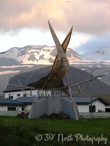 The apparently obligatory Viking ship sculpture in Hellissandur