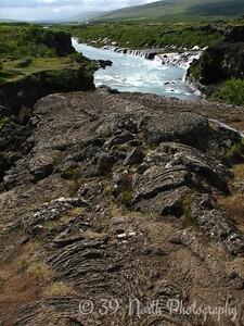 Hraunfossar and pahoehoe lava