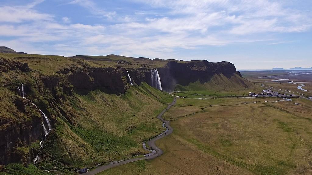 Seljalandsfoss drone photography - Seljalandsfoss from above, Iceland
