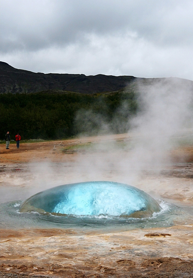A shot of a huge bubble just seconds before the Strokkur geyser explodes in Iceland