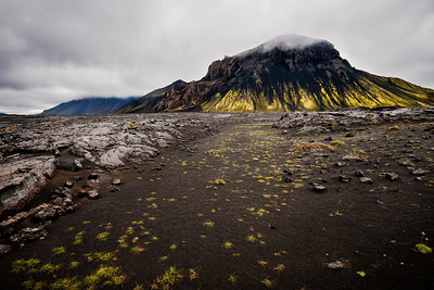 A volcano covered in green lichen in Iceland.