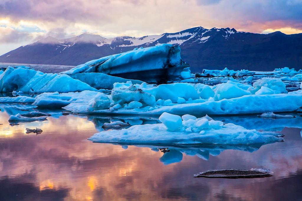 Sunset at the Glacial Lagoon
