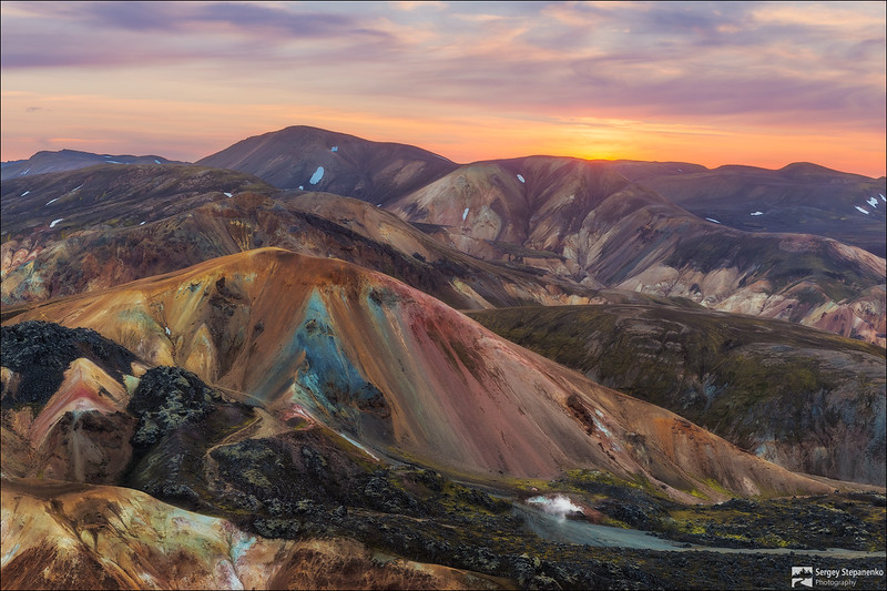 Sunset on the colored mountains