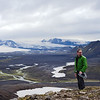 Atop Hvanngilhauser ridge with views of glaciers Mýrdalsjökull and Eyjafjallajökull