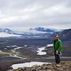 Atop Hvanngilhauser ridge with views of glaciers Mýrdalsjökull and Eyjafjallajökull