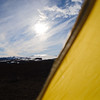 View of Eyjafjallajökull from our tent at Baldvinsskáli