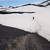 Long stretches of snowy trail near the site of Eyjafjallajökull's most recent eruption
