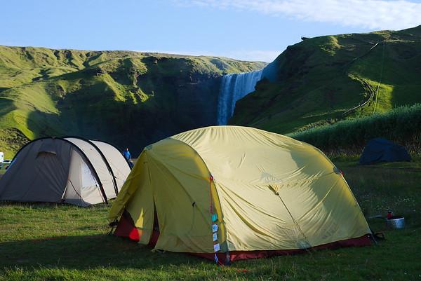 Camping at Skógafoss