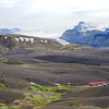 The huts at Emstrur with close-up views of Eyjafjallajökull, the small strip of green space is reserved for camping