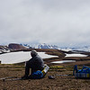 Snacking and taking in the views on the trail between Landmannalaugur and Hrafntinnusker