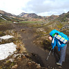 Getting used to the 50lb bag on the first few metres of the trek!