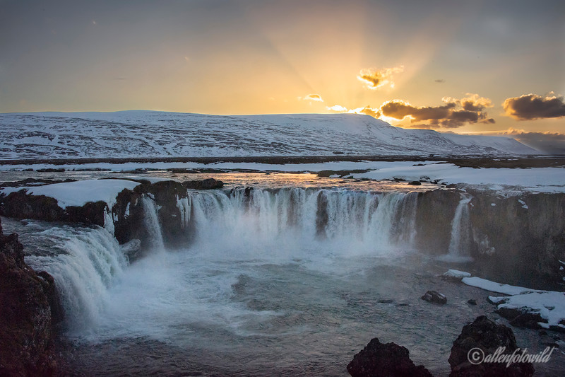 Godafoss falls at sunset