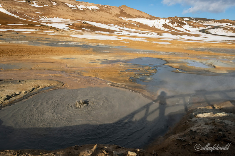 Shadow self-portrait, Namafjall Geothermal Area viewpoint, Hverir, Lake Myvtan, North Iceland