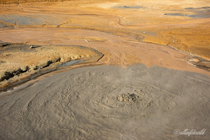 Sulphur fields and boiling mud puddle, Namafjall Geothermal Area,  Hverir, Myvtan, Iceland