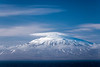 A view of snow capped Mount Akrafjall from a cruise ship near Akranes in Western Iceland, Europe.