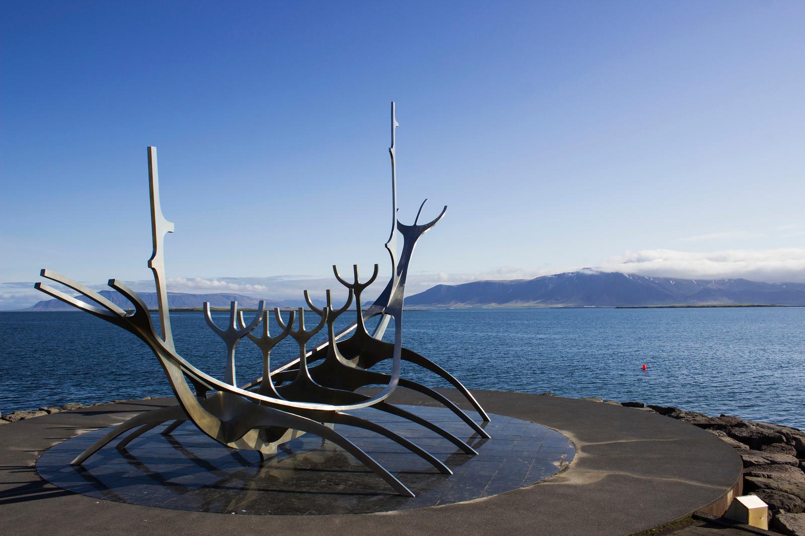 Solfar public art statue in Reykjavik Iceland
