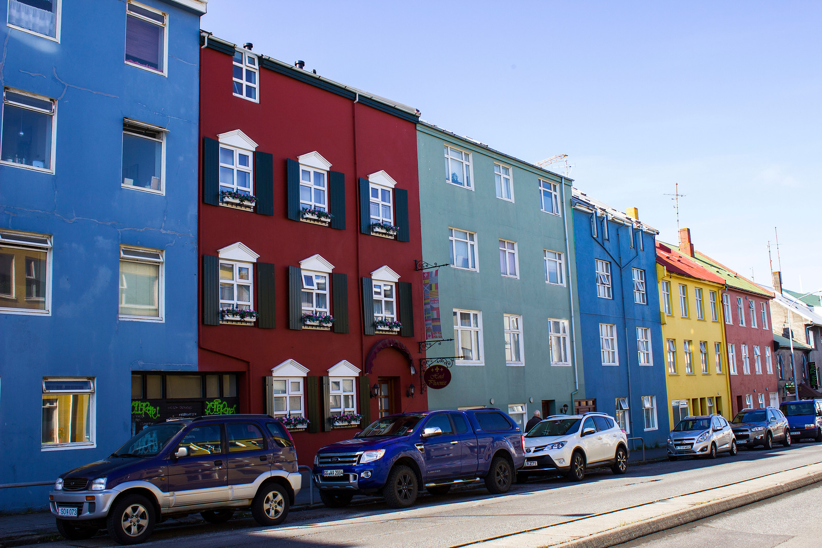 Streets of Reykjavik with colourful houses