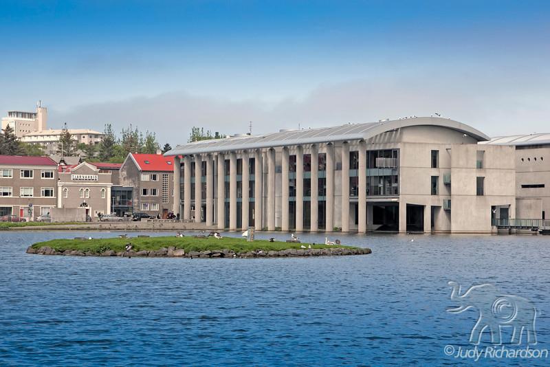 City Hall (Ráðhúsið) on Tjörnin (The Pond) in Reykjavik, Iceland