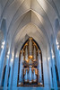 Interior of the Hallgrimskirkja church in Reykjavik, Iceland.