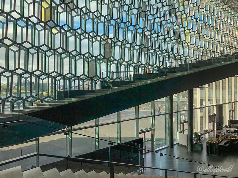 Facade, entrance and staircases, Harpa Concert Hall, Reykjavik, Iceland