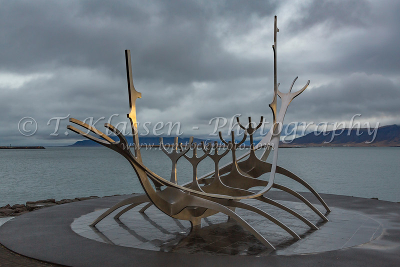 The Sun Voyager  sculpture by Jón Gunnar Árnason on the waterfront in Reykjavik, Iceland.